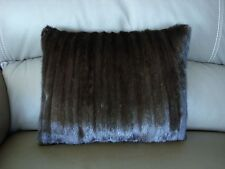 "1 SHINY DARK BROWN MINK FUR PILLOW 15.5"" by 13""  FREE USA SHIPPING cushion throw"
