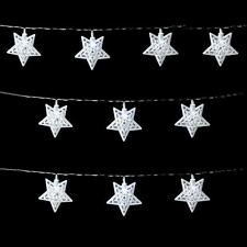 10 White Metal Star LED Battery Lights on Clear Cable