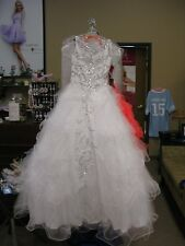 Mac Duggal Sugar 82210 White Winning Girls Pageant Gown Dress sz 12