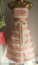 MONSOON CORAL IVORY 50's PROM RIBBON STRIPE TULLE SUMMER WEDDING RACES DRESS 18