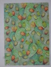 papier peint pour cartonnage ou reliure (thème: figuier de barbarie) 68X48cm