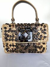 BOTTEGA VENETA BEIGE SNAKE/KARUNG AND TORTOISESHELL HAND BAG LIMITED EDITION