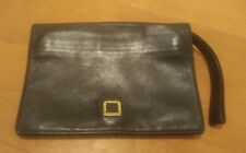 Auth LOEWE Anagram Pouch Clutch Bag Black Leather MADE IN SPAIN