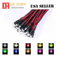 10colorsx5 50pcs 3mm Water Clear Pre-Wired White Red Light DC 9-12V LED Mix Kits