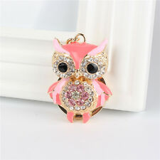 Owl Bird Pink Charm Pendant Accesories Crystal Purse Bag Key Ring Creative Gift