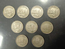 FRANCIA LOTTO 9 MONETE 100 franchi REPUBLIQUE FRANCAISE 1954 B 1955 1956 1958 B