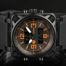 INFANTRY Herren Analog Quarz Digitaluhr Armbanduhr Alarm Stoppuhr Flieger Orange