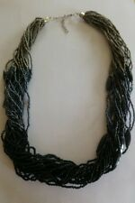 Vintage black and grey multi strand seed bead necklace