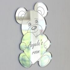 Teddy Bear Heart Mirror Set Personalised Door Name Plaque Boy Girl Bed Room Sign