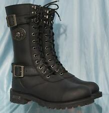 Mint Black Leather XELEMENT Lace Up Side Zip Harness Motorcycle Boots US Sz 9
