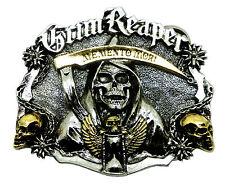 Cranio Fibbia della Cintura GRIM Reaper Memento Mori 24ct ORO Gotico Dragone Designs