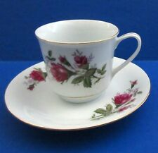 Vintage Made in China Pagoda Mark Roses Coffee Tea CUP & SAUCER