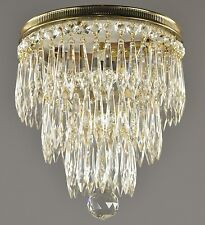 Flush Mount Wedding Cake Chandelier c1930 Vintage Antique Tiered Victorian Ceili