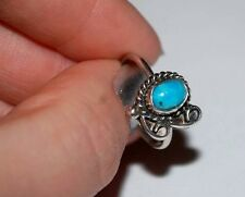 HANDMADE UNIQUE LADIES STERLING SILVER RING NATURAL OVAL TURQUOISE SIZE 5.5