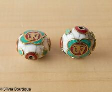 Tibetan White crackle resin beads with Turquoise Coral Inlay on brass Nepal 23mm