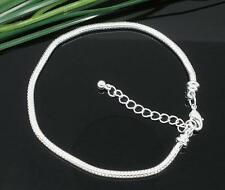 2pc silver finish 7 inch European style Snake Chain Charm Bracelets-2622