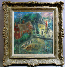 Colorful Judaic Abstract 20th Century Oil Painting of Village Houses by Lake
