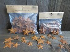 "200 pc Lot Rusty Stars 100 ea 1.5"" & 2.25"" Primtive Country Metal Barn Rusted"