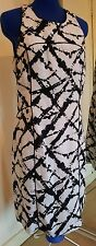 CYNTHIA ROWLEY BLACK AND WHITE LINEN FITTED DRESS WITH RACER STYLE BACK SIZE 12
