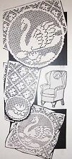 926 Vintage Filet SWAN Chair Set & Pillow Pattern to Crochet (Reproduction)