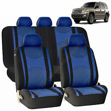 BLUE AIRBAG & SPLIT Bench SEAT COVERS 9pc SET for JEEP PATRIOT
