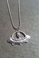 """1 x Tibetan Silver Plated Necklace - """"I Want To Believe"""" - Alien - UFO"""