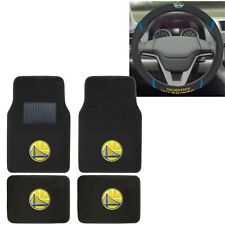 New NBA Golden State Warriors Car Truck Carpet Floor Mats & Steering Wheel Cover