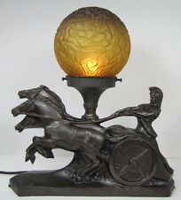 Antique Art Deco Gladiator on Chariot w Trio of Horses Figural Decorative Lamp