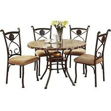 5 Piece Dining Set Faux Marble Top and Metal Kitchen Table Chair Dinette Brown