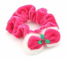 Zest Christmas Velvety Scrunchie Trimmed with Fluffy Bow & Holly Hot Pink