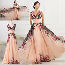 USA 14 ~ Vintage Long Chiffon Bridesmaid Evening Prom Formal Gowns Banquet Dress
