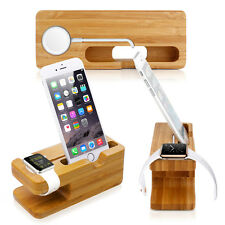 Bamboo Charging Dock Station Charger Holder Stand For Apple Watch iWatch iP
