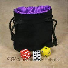 NEW Small Black Velvet RPG Dice Bag with PURPLE Satin Lining D&D Counter Pouch