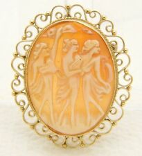 VTG 14k Yellow Gold Three Goddess Cameo Pin Brooch Pendant Translucent