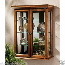 Hardwood Wall Mount Curio Cabinet Display Shelves Case Collectible mirror bak