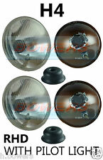 "7"" FLAT LENS CLASSIC CAR SEALED BEAM HEADLAMPS HEADLIGHTS HALOGEN H4 CONVERSION"