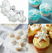 3PCS Christmas Snowflake Sugarcraft Cake Decorating Fondant Plunger Tools Mold /