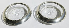 SET OF 2 VINTAGE FRANK M. WHITING SILVER STERLING STACKABLE GLASS COASTERS