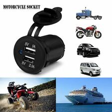 2016 Motorcycle Car Boat Dual USB Power Outlet Charger Socket Blue LED 1A/2.1A