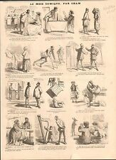 Caricature de Cham Restaurant Zouaves Mode Dames de Paris GRAVURE OLD PRINT 1867