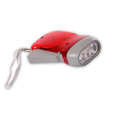Rechargeable Hand-Pressing 3 LED lights Flashlight (Red) Never needs batteries