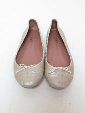 Alaia Ballet Flat Metallic Croc-Embossed Leather Champagne Size 38 Gently Worn