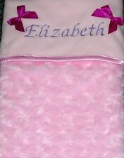 Luxurious Personalised  Baby Blanket Embossed Rosebud Pink Girl Newborn Gift