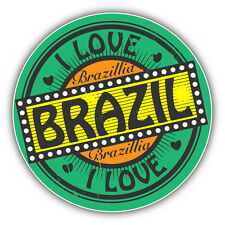"I Love Brazil Travel Car Bumper Sticker Decal 5"" x 5"""