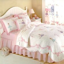 BALLET LESSON Full Queen QUILT SET : GIRLS PINK BALLERINA DANCER TUTU PRINCESS