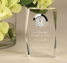 "Personalized Laser Engraveable Crystal Desk Clock - 3 1/2 x 2 1/4"" Inches"