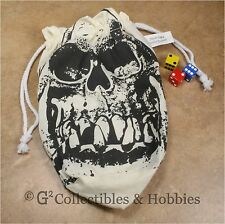 NEW Extra Large Ivory Orc Skull Dice Bag RPG Game Gaming D&D Crystal Caste