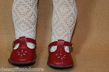 Doll Shoes fitting 18 in American Girl Dolls Red T-Strap Shoe, Lat Socks