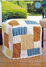Knitting pattern home patchwork avec repose-pieds & coussin set dentelle câble aran skm A1A