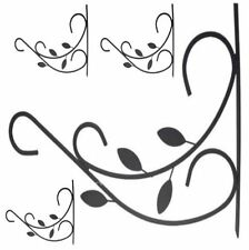 "4x GARDEN HANGING BASKET METAL WALL BRACKET - LEAVES - UP TO 12"" BASKETS"